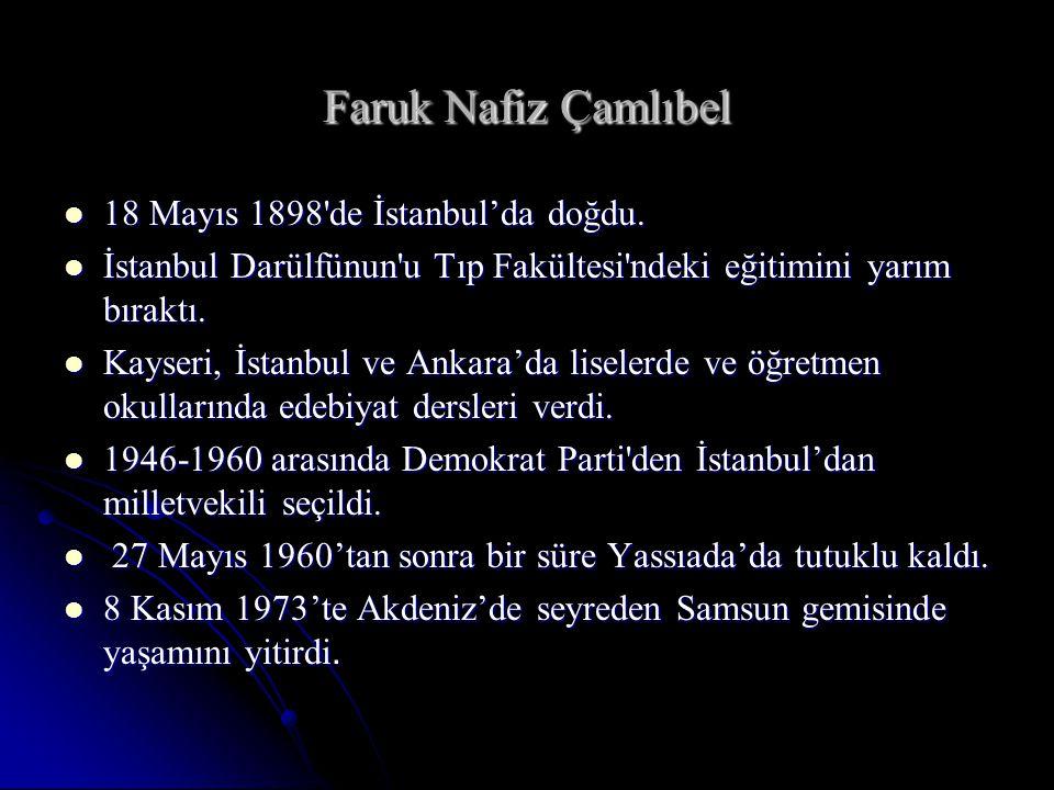Faruk Nafiz Çamlıbel 18 Mayıs 1898 de İstanbul'da doğdu.
