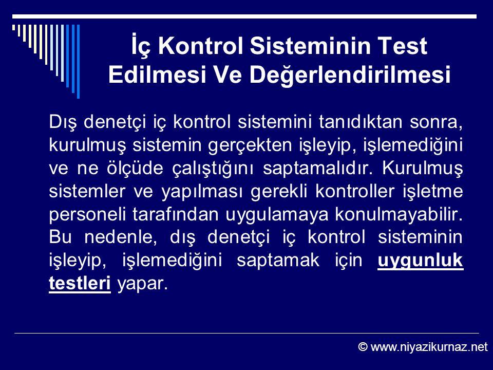 İç Kontrol Sisteminin Test Edilmesi Ve Değerlendirilmesi