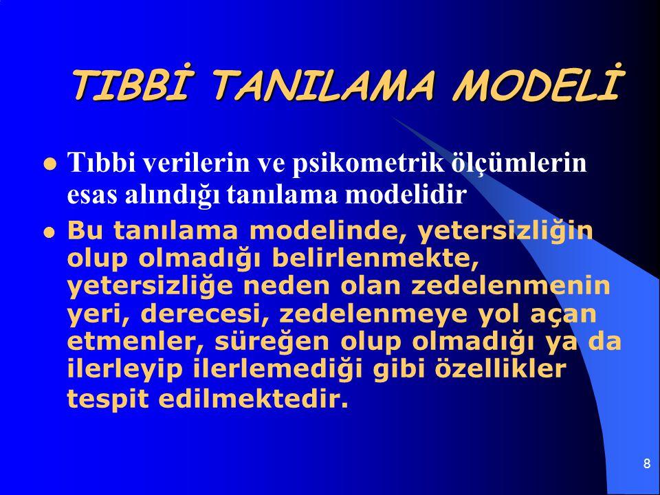 TIBBİ TANILAMA MODELİ Tıbbi verilerin ve psikometrik ölçümlerin esas alındığı tanılama modelidir.