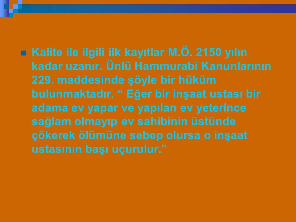 Kalite ile ilgili ilk kayıtlar M. Ö. 2150 yılın kadar uzanır