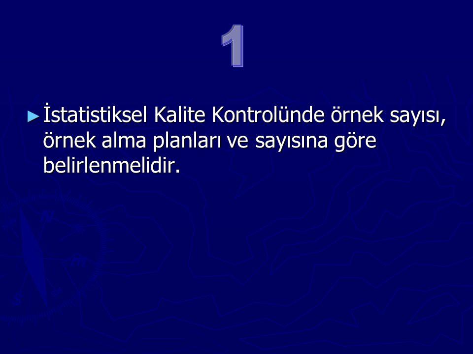 1 İstatistiksel Kalite Kontrolünde örnek sayısı, örnek alma planları ve sayısına göre belirlenmelidir.