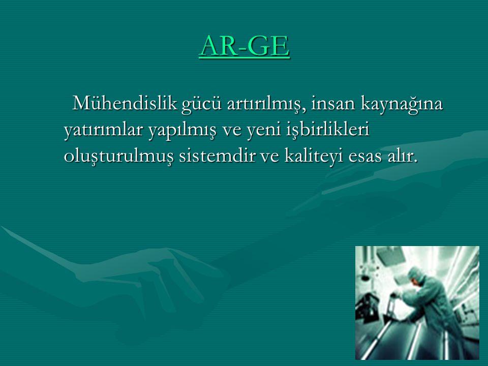 AR-GE Mühendislik gücü artırılmış, insan kaynağına yatırımlar yapılmış ve yeni işbirlikleri oluşturulmuş sistemdir ve kaliteyi esas alır.