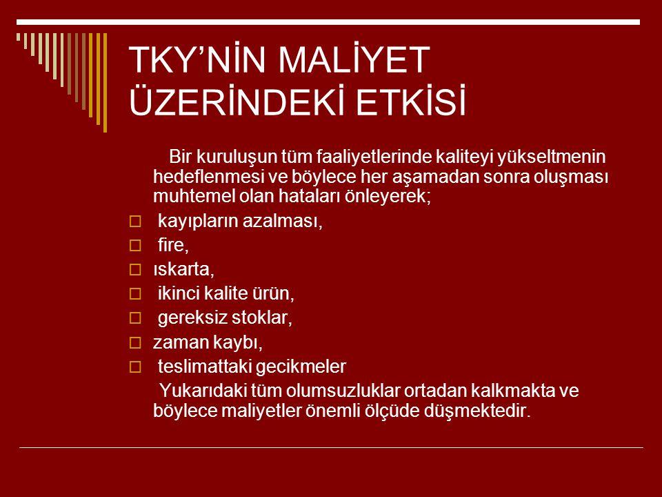 TKY'NİN MALİYET ÜZERİNDEKİ ETKİSİ