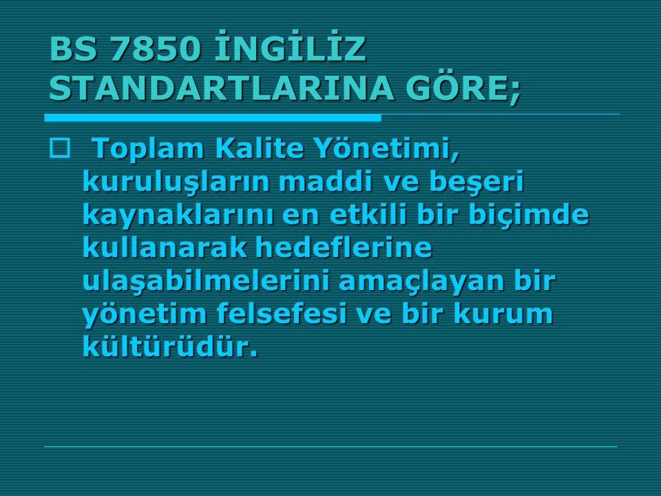 BS 7850 İNGİLİZ STANDARTLARINA GÖRE;
