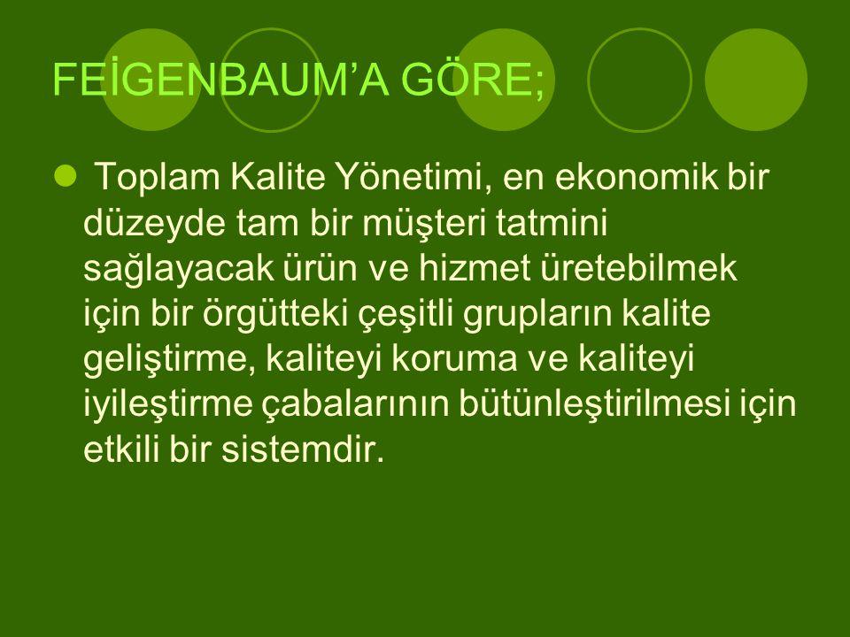 FEİGENBAUM'A GÖRE;