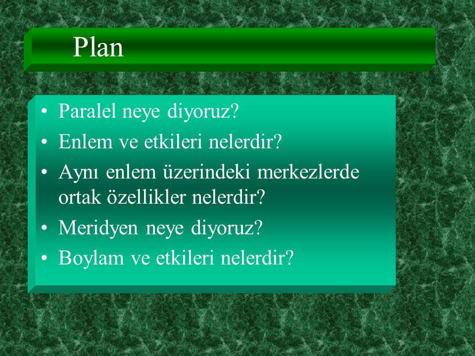 Plan Paralel neye diyoruz Enlem ve etkileri nelerdir