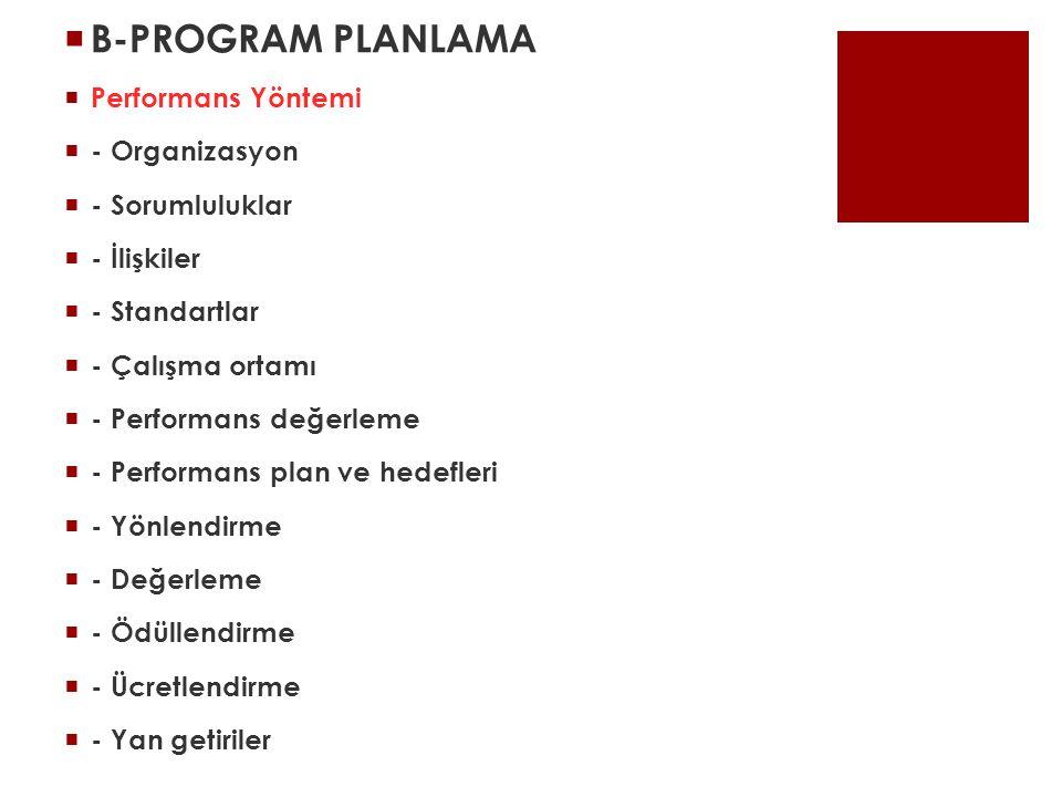 B-PROGRAM PLANLAMA Performans Yöntemi - Organizasyon - Sorumluluklar