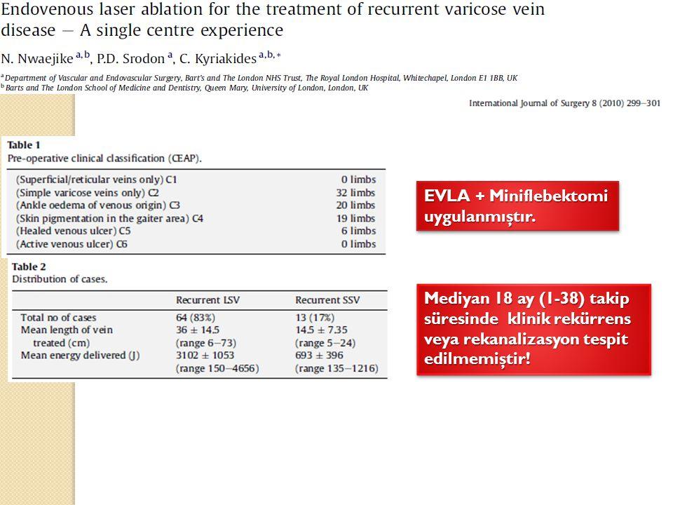 EVLA + Miniflebektomi uygulanmıştır.