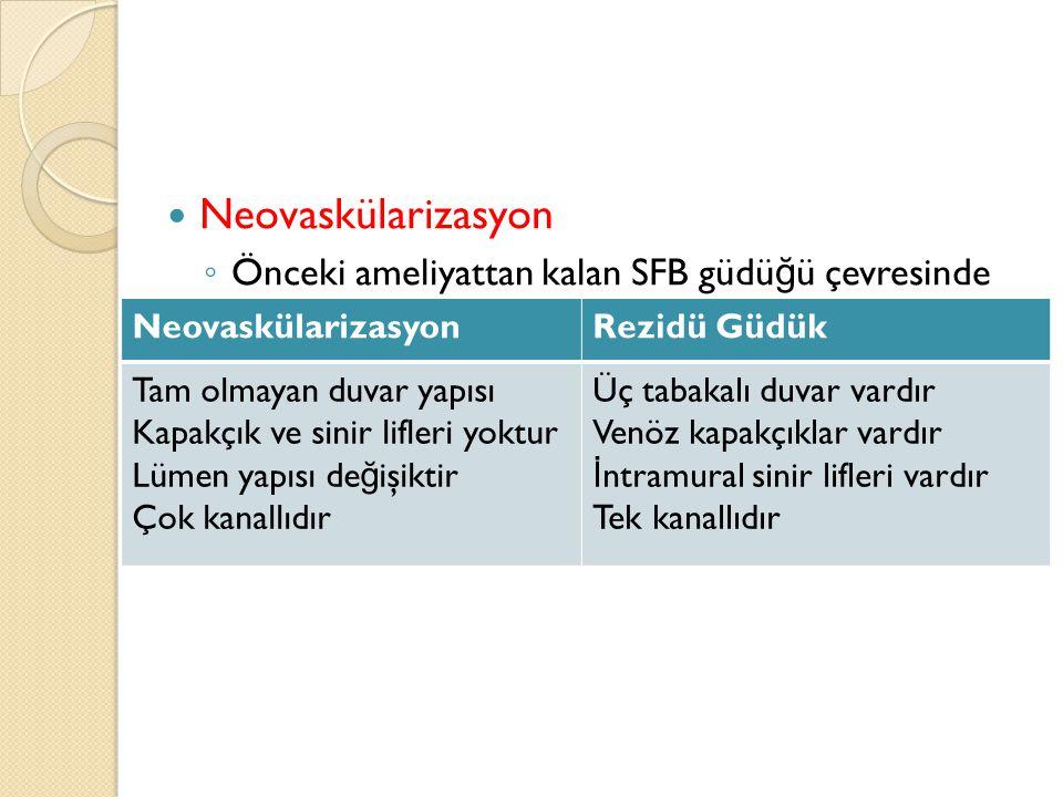 Neovaskülarizasyon Önceki ameliyattan kalan SFB güdüğü çevresinde yeni damarların oluşumu olarak tanımlanmaktadır.
