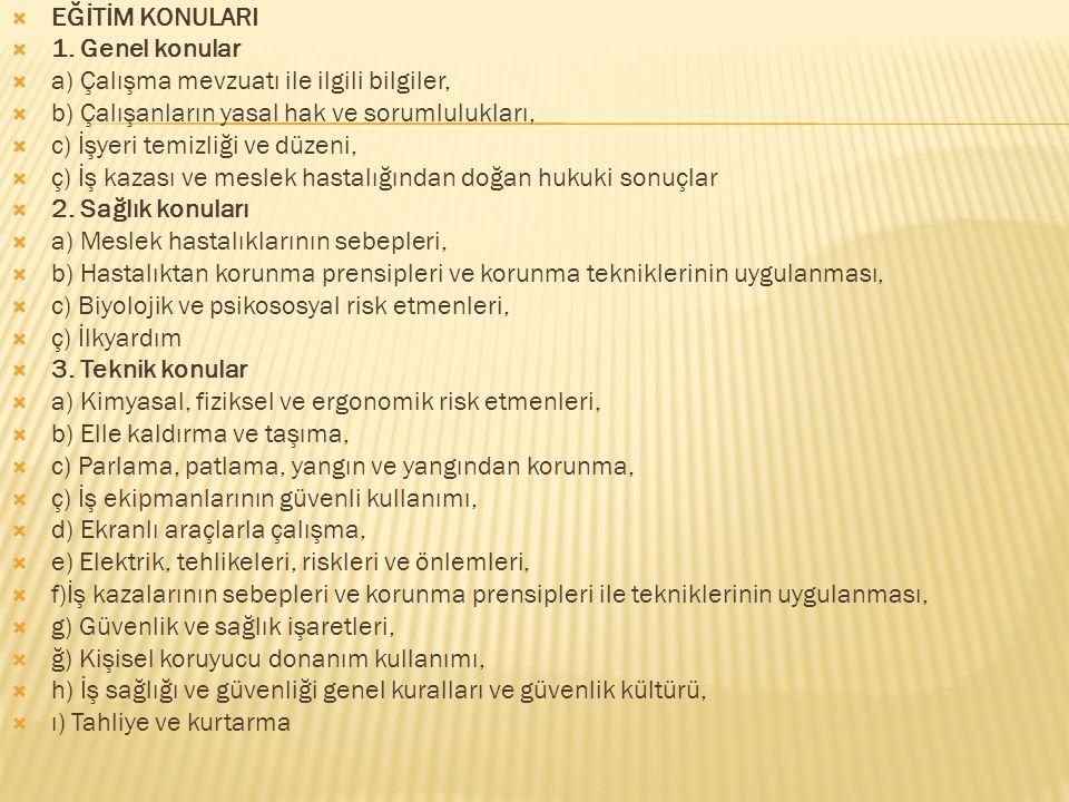 EĞİTİM KONULARI 1. Genel konular. a) Çalışma mevzuatı ile ilgili bilgiler, b) Çalışanların yasal hak ve sorumlulukları,