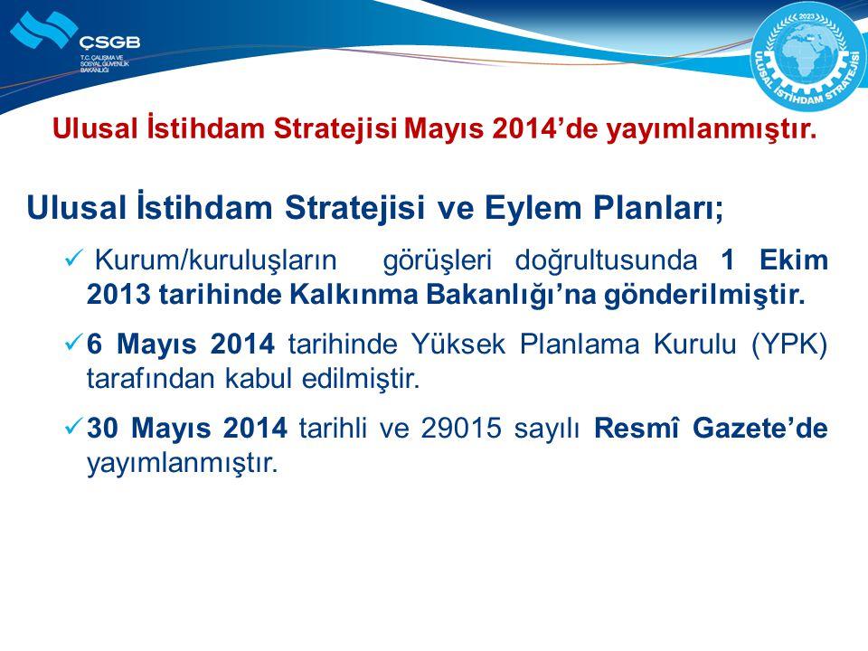 Ulusal İstihdam Stratejisi Mayıs 2014'de yayımlanmıştır.