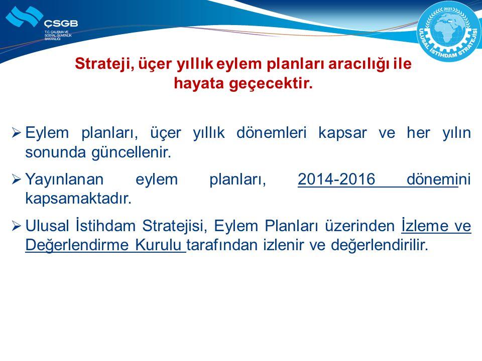 Strateji, üçer yıllık eylem planları aracılığı ile hayata geçecektir.