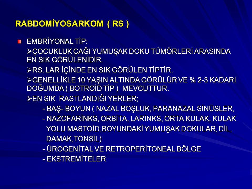 RABDOMİYOSARKOM ( RS ) EMBRİYONAL TİP: