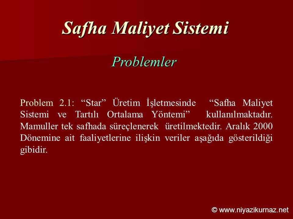 Safha Maliyet Sistemi Problemler
