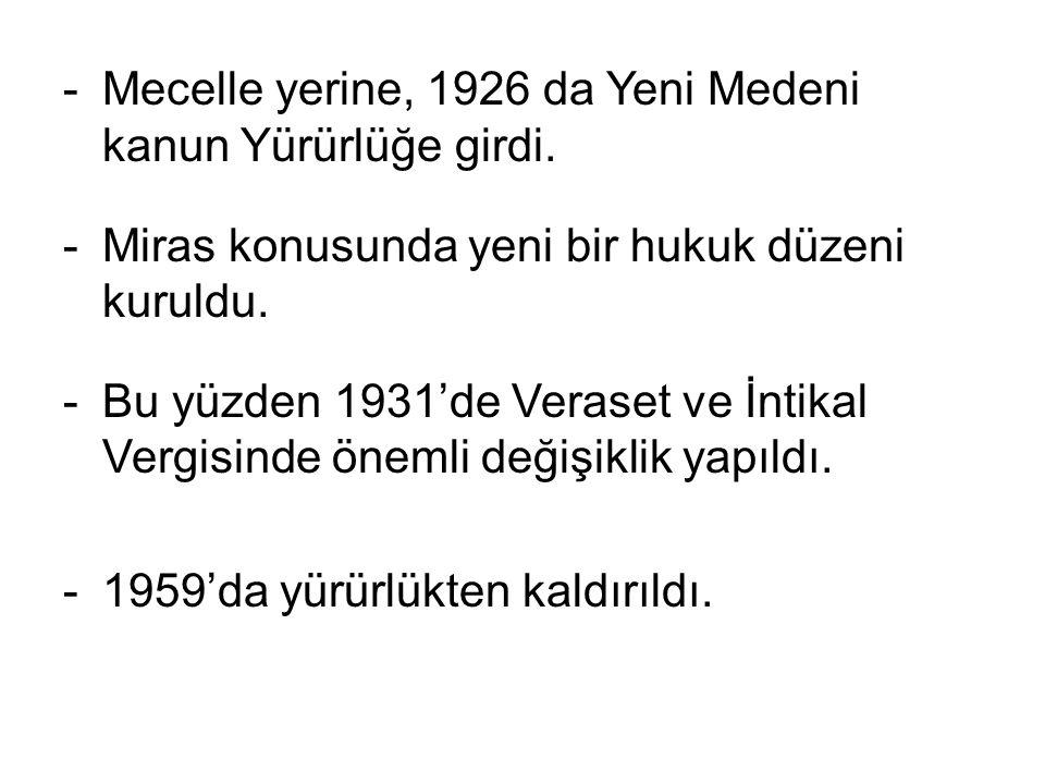 Mecelle yerine, 1926 da Yeni Medeni kanun Yürürlüğe girdi.