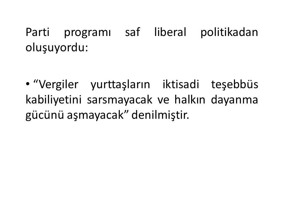 Parti programı saf liberal politikadan oluşuyordu: