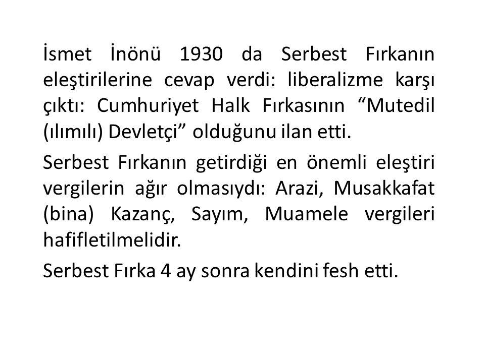İsmet İnönü 1930 da Serbest Fırkanın eleştirilerine cevap verdi: liberalizme karşı çıktı: Cumhuriyet Halk Fırkasının Mutedil (ılımılı) Devletçi olduğunu ilan etti.