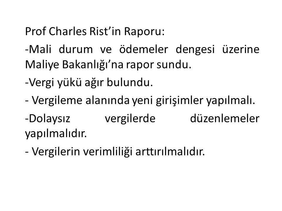 Prof Charles Rist'in Raporu:
