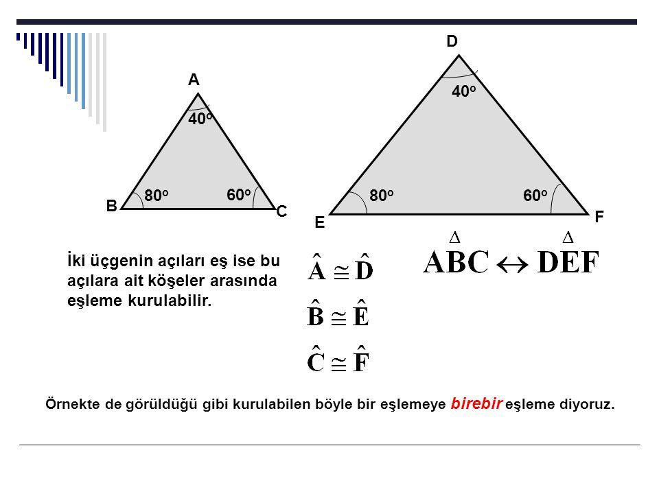 D A. 40o. 40o. 80o. 60o. 80o. 60o. B. C. F. E. İki üçgenin açıları eş ise bu açılara ait köşeler arasında eşleme kurulabilir.