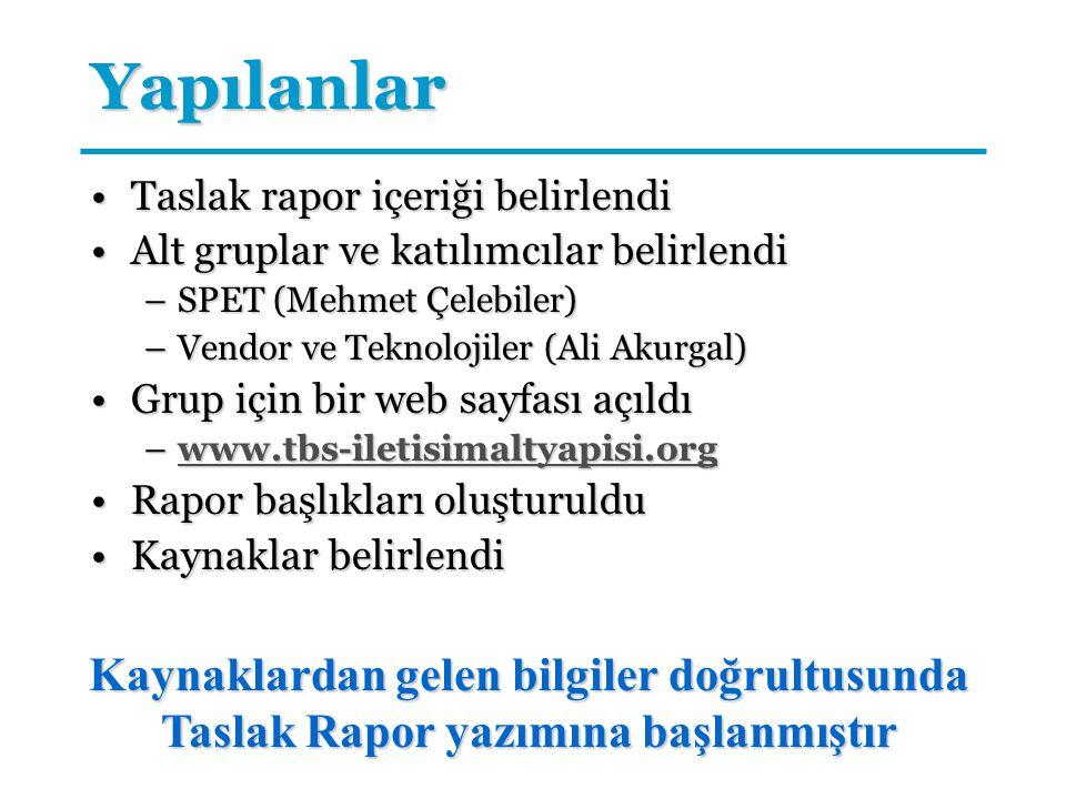 Yapılanlar Taslak rapor içeriği belirlendi. Alt gruplar ve katılımcılar belirlendi. SPET (Mehmet Çelebiler)
