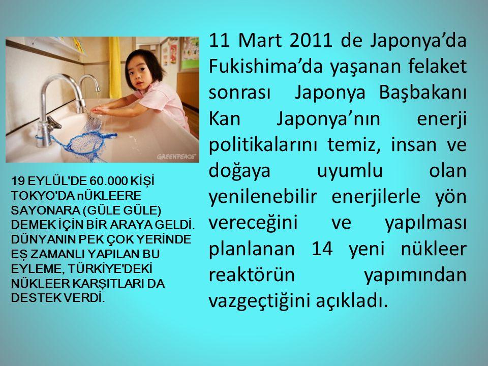 11 Mart 2011 de Japonya'da Fukishima'da yaşanan felaket sonrası Japonya Başbakanı Kan Japonya'nın enerji politikalarını temiz, insan ve doğaya uyumlu olan yenilenebilir enerjilerle yön vereceğini ve yapılması planlanan 14 yeni nükleer reaktörün yapımından vazgeçtiğini açıkladı.