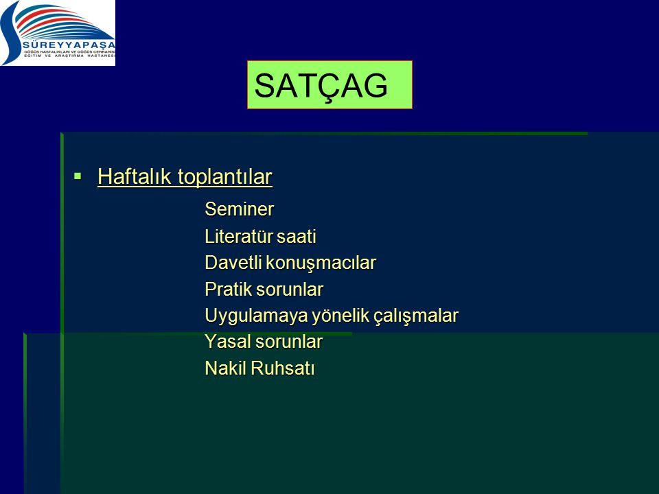 SATÇAG Haftalık toplantılar Seminer Literatür saati