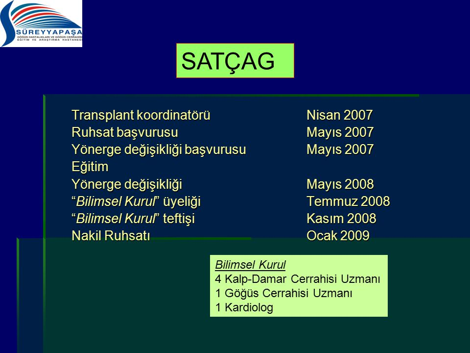 SATÇAG Transplant koordinatörü Nisan 2007 Ruhsat başvurusu Mayıs 2007