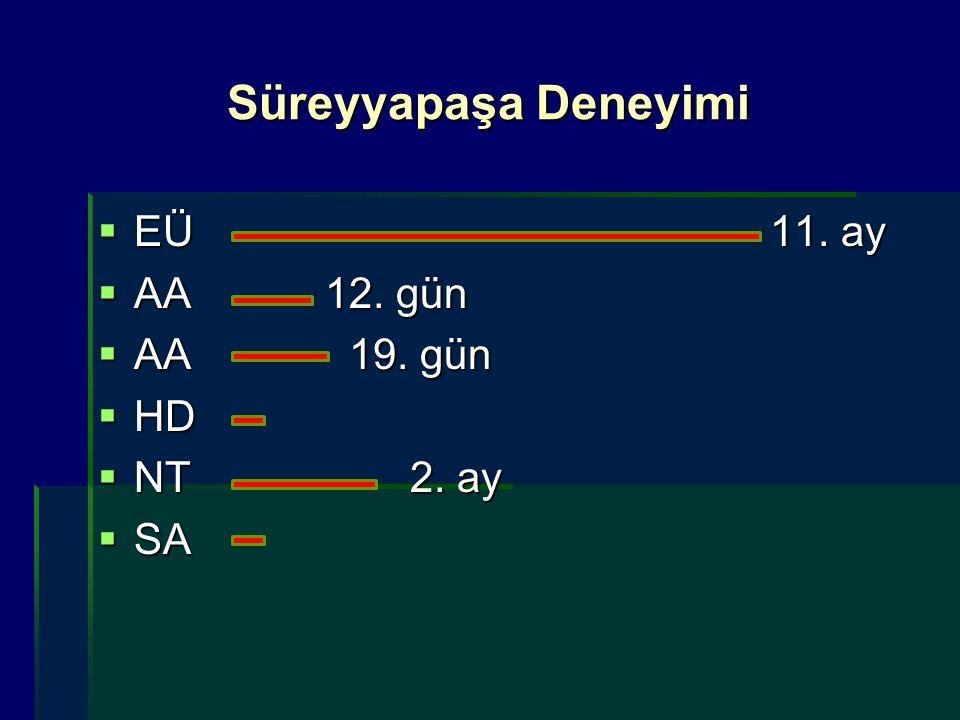 Süreyyapaşa Deneyimi EÜ 11. ay AA 12. gün AA 19. gün HD NT 2. ay SA