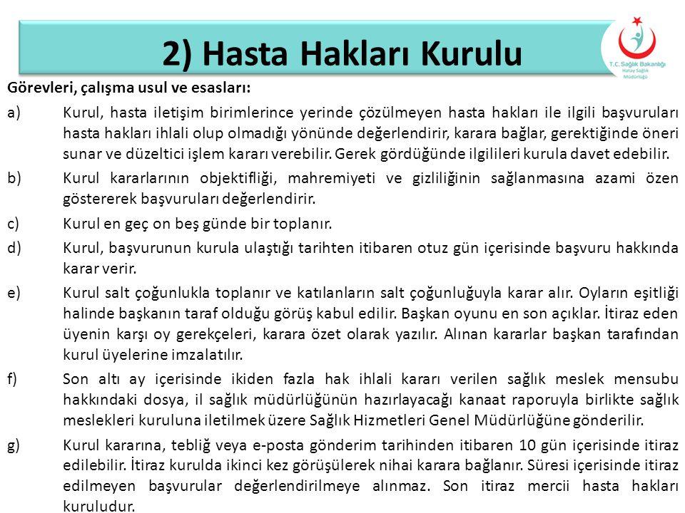 2) Hasta Hakları Kurulu Görevleri, çalışma usul ve esasları: