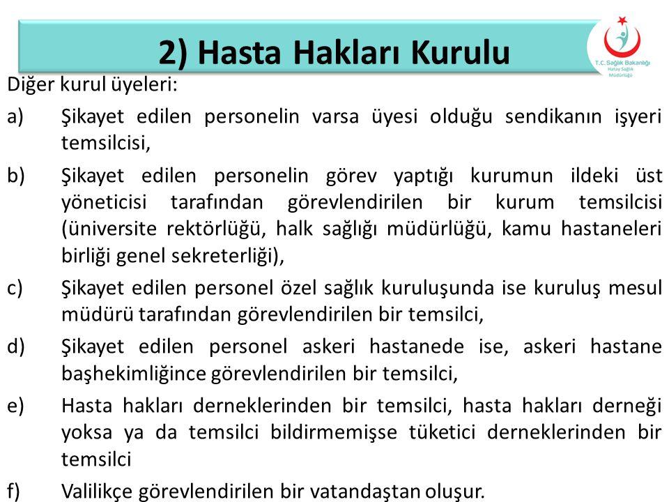 2) Hasta Hakları Kurulu Diğer kurul üyeleri: