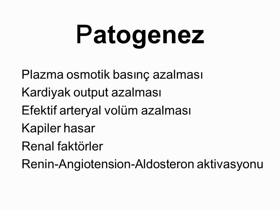 Patogenez Plazma osmotik basınç azalması Kardiyak output azalması