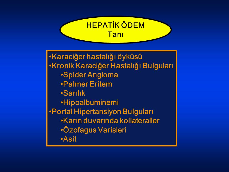 HEPATİK ÖDEM Tanı. Karaciğer hastalığı öyküsü. Kronik Karaciğer Hastalığı Bulguları. Spider Angioma.