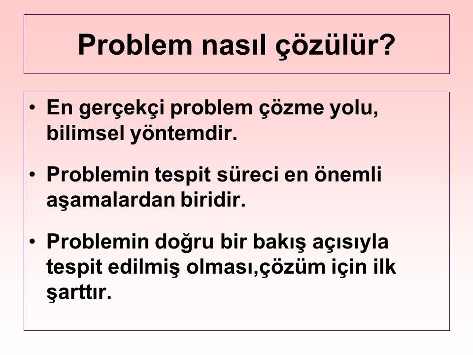 Problem nasıl çözülür En gerçekçi problem çözme yolu, bilimsel yöntemdir. Problemin tespit süreci en önemli aşamalardan biridir.