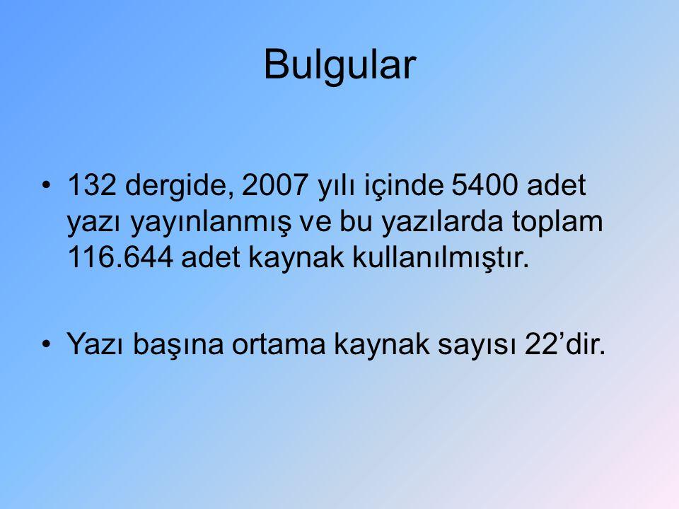 Bulgular 132 dergide, 2007 yılı içinde 5400 adet yazı yayınlanmış ve bu yazılarda toplam 116.644 adet kaynak kullanılmıştır.
