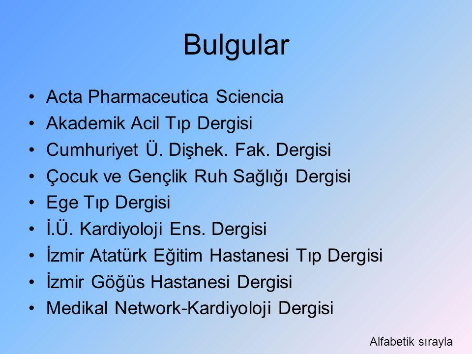 Bulgular Acta Pharmaceutica Sciencia Akademik Acil Tıp Dergisi