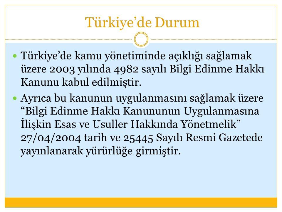 Türkiye'de Durum Türkiye'de kamu yönetiminde açıklığı sağlamak üzere 2003 yılında 4982 sayılı Bilgi Edinme Hakkı Kanunu kabul edilmiştir.