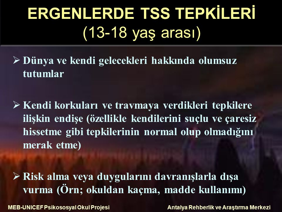 ERGENLERDE TSS TEPKİLERİ (13-18 yaş arası)