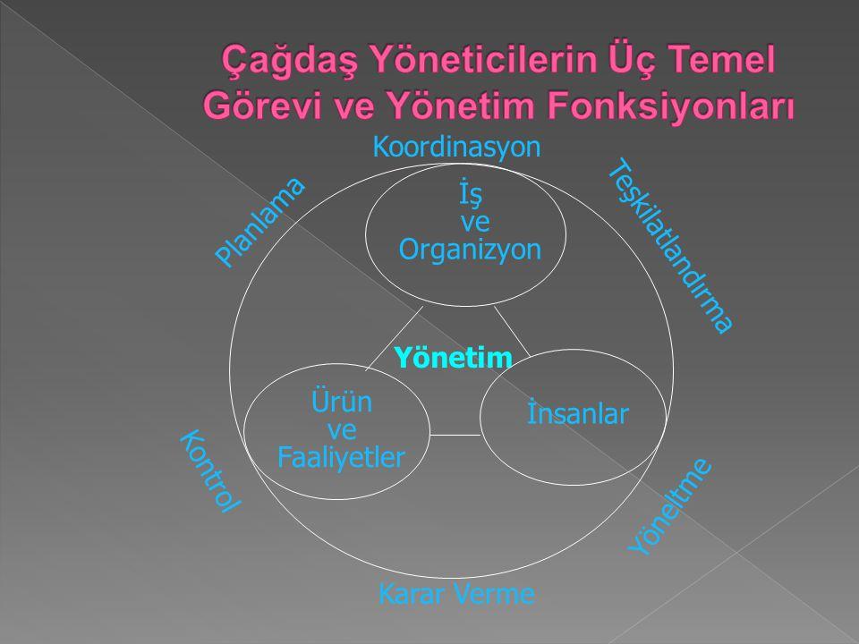 Çağdaş Yöneticilerin Üç Temel Görevi ve Yönetim Fonksiyonları