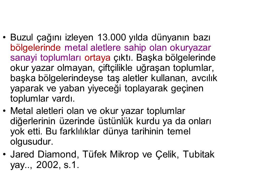 Jared Diamond, Tüfek Mikrop ve Çelik, Tubitak yay.., 2002, s.1.