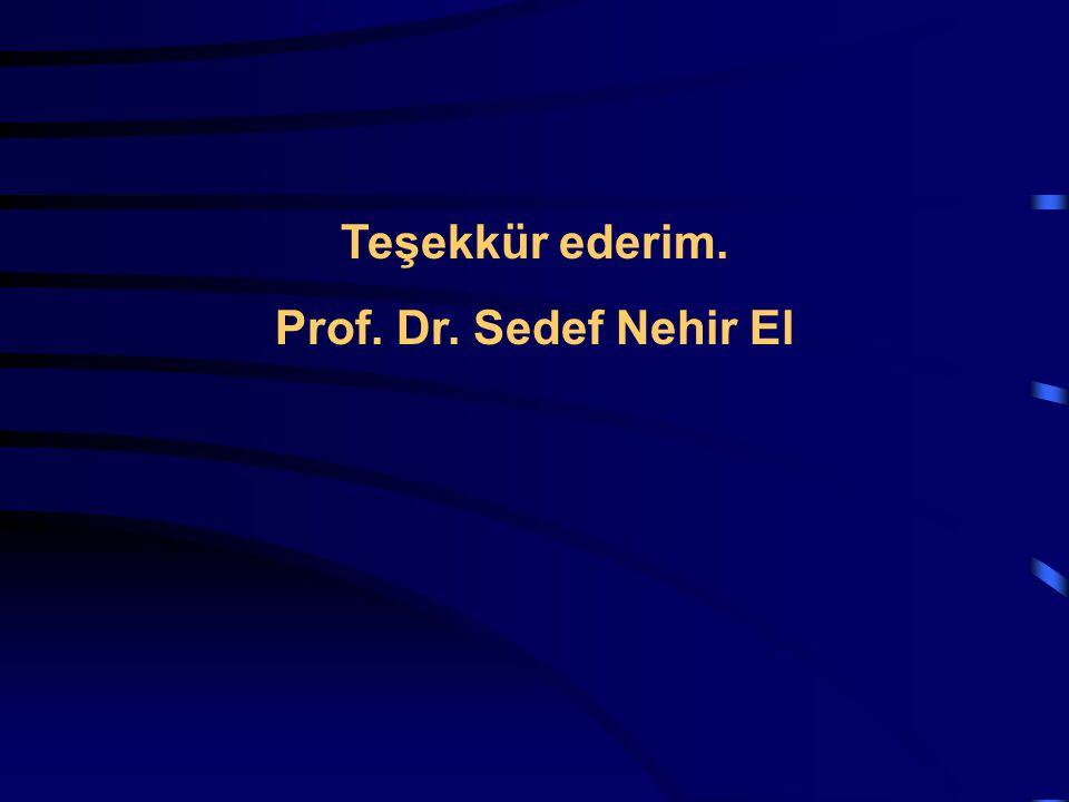Teşekkür ederim. Prof. Dr. Sedef Nehir El