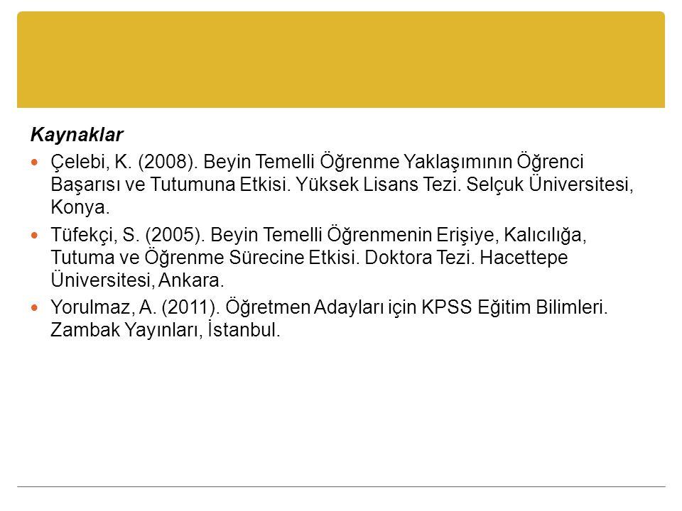 Kaynaklar Çelebi, K. (2008). Beyin Temelli Öğrenme Yaklaşımının Öğrenci Başarısı ve Tutumuna Etkisi. Yüksek Lisans Tezi. Selçuk Üniversitesi, Konya.