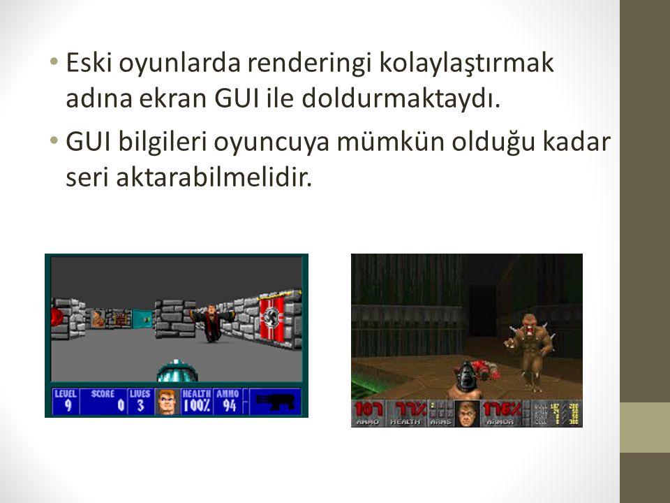 Eski oyunlarda renderingi kolaylaştırmak adına ekran GUI ile doldurmaktaydı.