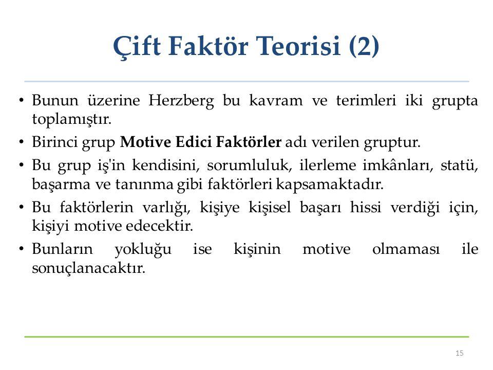 Çift Faktör Teorisi (2) Bunun üzerine Herzberg bu kavram ve terimleri iki grupta toplamıştır.