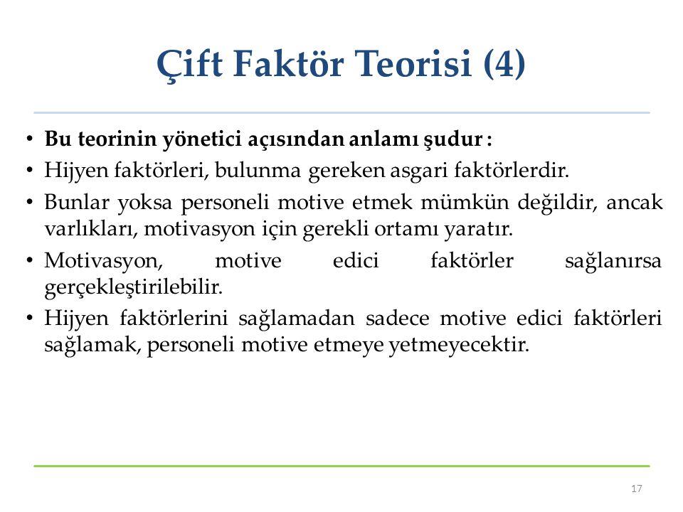 Çift Faktör Teorisi (4) Bu teorinin yönetici açısından anlamı şudur :