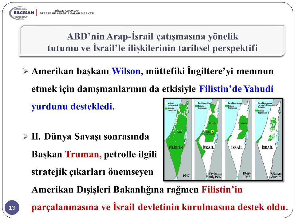ABD'nin Arap-İsrail çatışmasına yönelik tutumu ve İsrail'le ilişkilerinin tarihsel perspektifi