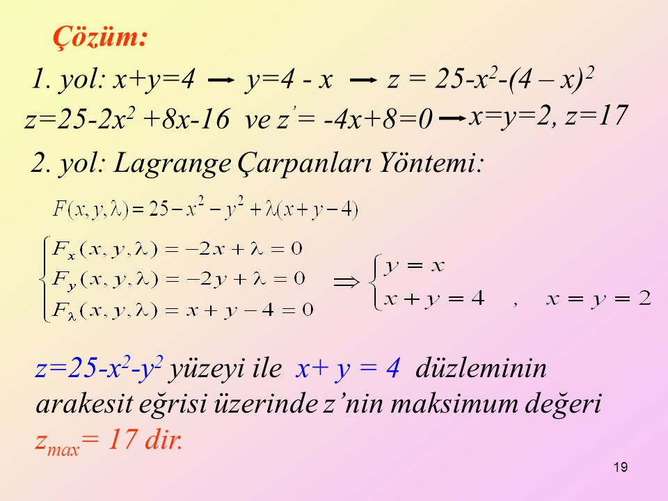 Çözüm: 1. yol: x+y=4 y=4 - x. z = 25-x2-(4 – x)2. z=25-2x2 +8x-16 ve z'= -4x+8=0. x=y=2, z=17.
