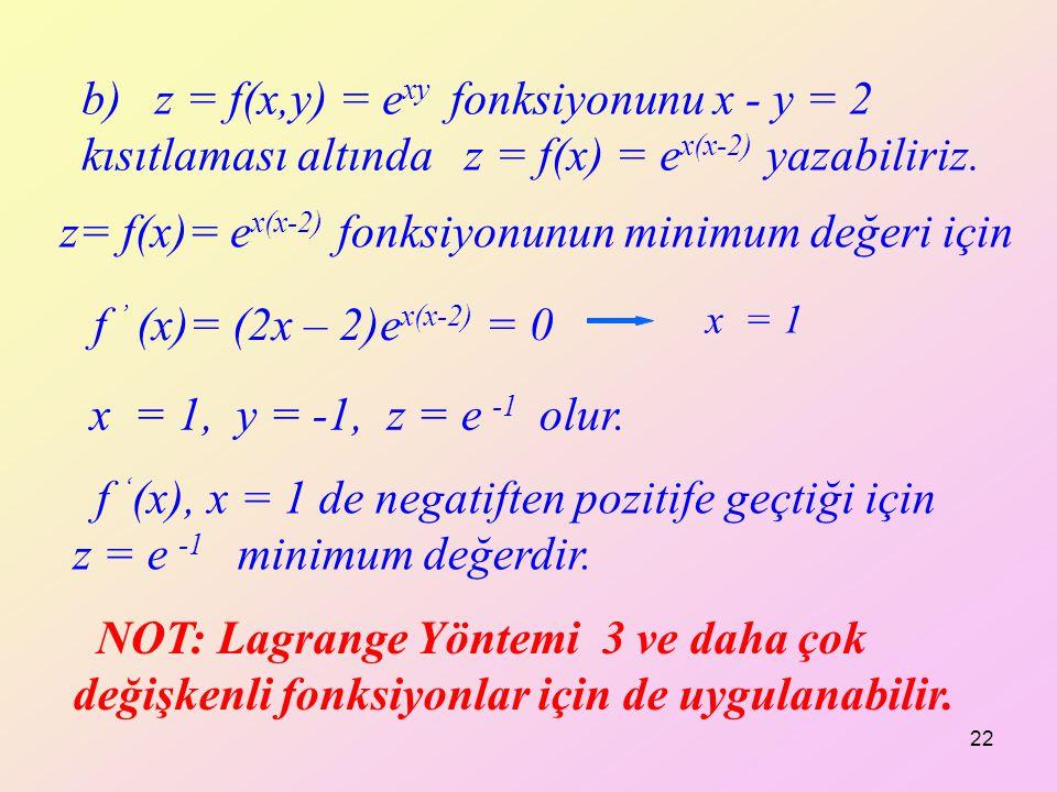 z= f(x)= ex(x-2) fonksiyonunun minimum değeri için