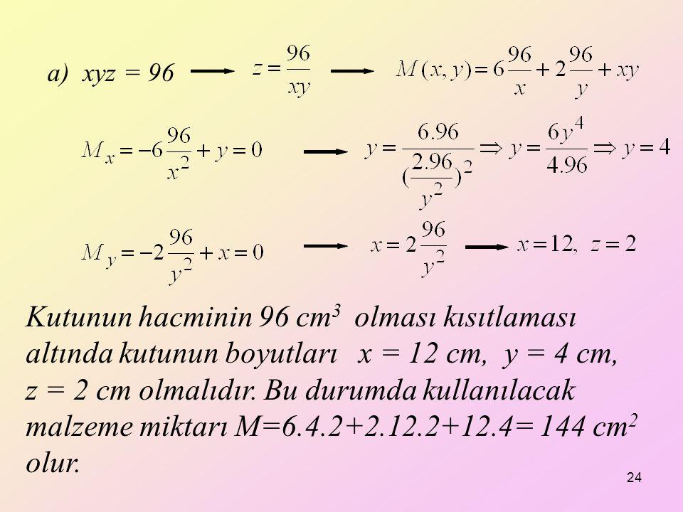 a) xyz = 96