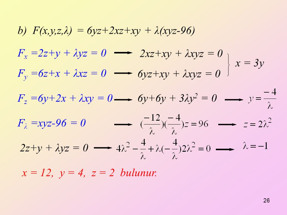 b) F(x,y,z,λ) = 6yz+2xz+xy + λ(xyz-96)