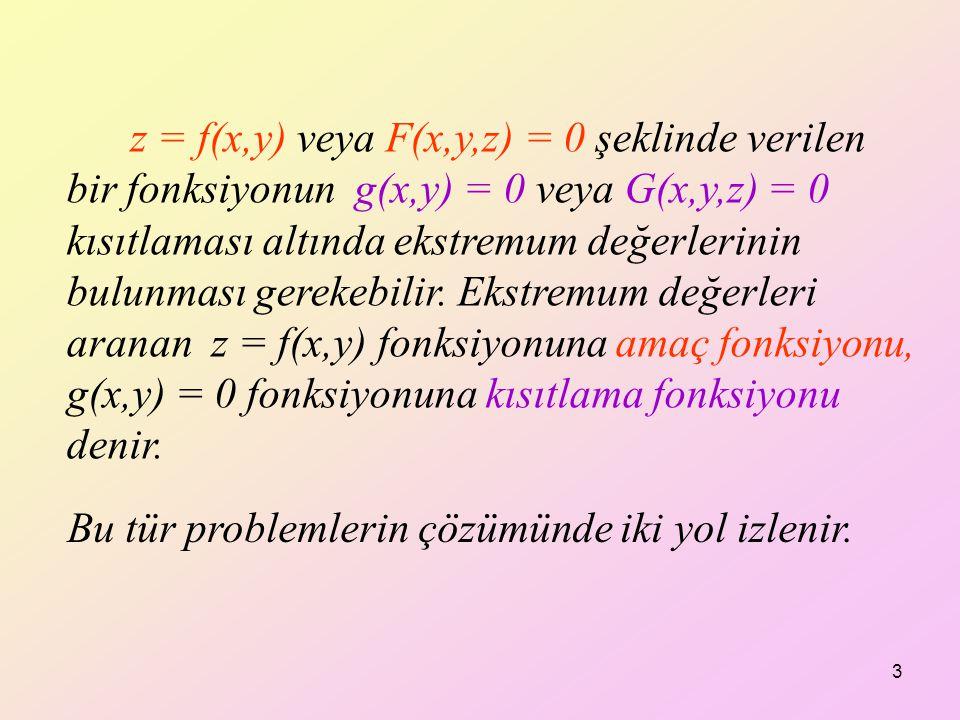 z = f(x,y) veya F(x,y,z) = 0 şeklinde verilen bir fonksiyonun g(x,y) = 0 veya G(x,y,z) = 0 kısıtlaması altında ekstremum değerlerinin bulunması gerekebilir. Ekstremum değerleri aranan z = f(x,y) fonksiyonuna amaç fonksiyonu, g(x,y) = 0 fonksiyonuna kısıtlama fonksiyonu denir.